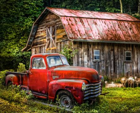 Red Chevy Truck at Barn Fabric Panel # AL37168C2