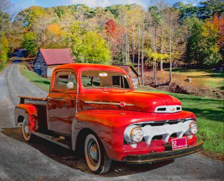 1952 Ford Red Truck On Road Panel 36in