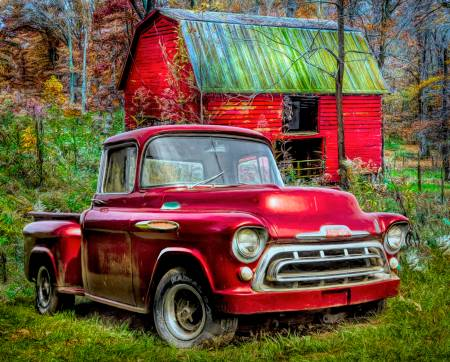 David Textiles - 1957 Chevy Red Truck/Red Barn - AL-3810-9C1