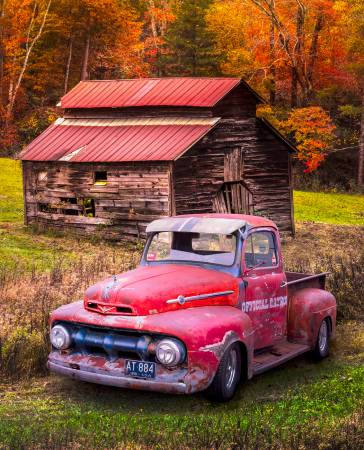 Vintage Red Ford Truck in Autumn Colors Panel 36in by 45
