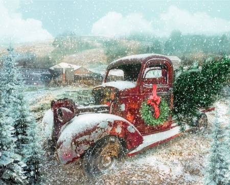 Vintage Red Truck Snowing w/Christmas Wreath & Tree Panel 36in