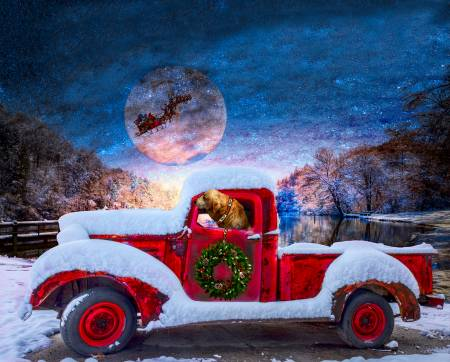 Christmas Red Truck w/Santa's Sleigh in Sky Panel 36in