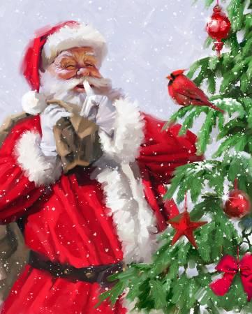 Santa w/Cardinal on Tree Panel 36in (88) *