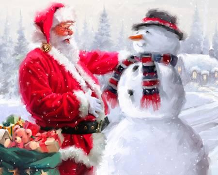 Santa & Snowman Christmas Panel 36in - AL - 3825 - 9C1* (94)