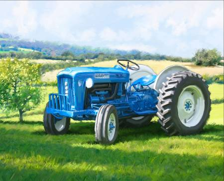 1823 Blue Tractor Panel 36in by 45in