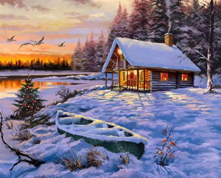 Snowy Log Cabin & Canoe by Lake Panel 36in