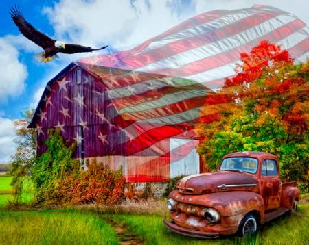 David Textiles - Land of Liberty Truck, Barn & Eagle Panel - 38810C1 - H23