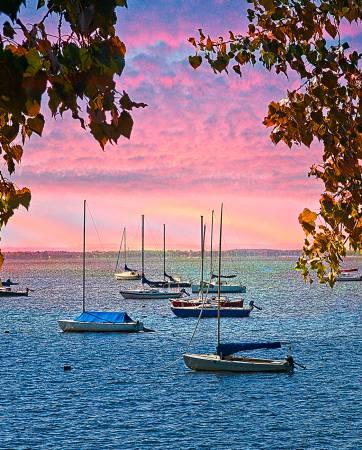 Sailboats at Dawn Digital Panel 36in