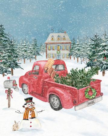 Winterland Red Truck Panel, 36in