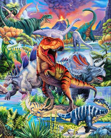 Dino World Panel 36in Digitally Printed