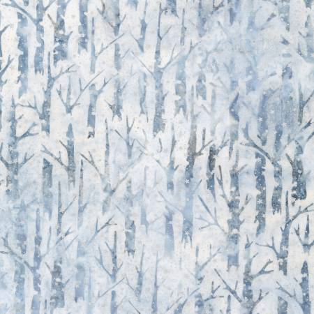 Magical Winter Trees Dusty Blue w/Metallic Batik