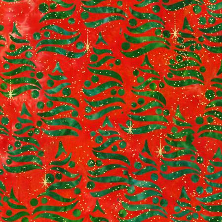 Holiday Moments Trees on Red  w/Metallic Batik