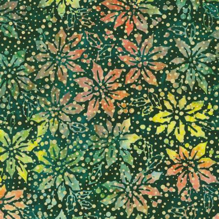 Holiday Moments Poinsettias on Evergreen w/Metallic Batik