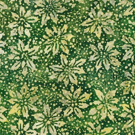 Flowers Green Christmas w/Metallic Batik