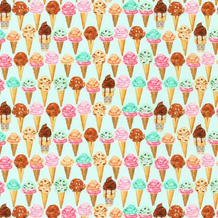 Sweet Tooth - Mint Ice Cream Cones - by Mary Lake-Thompson for Robert Kaufman Fabrics