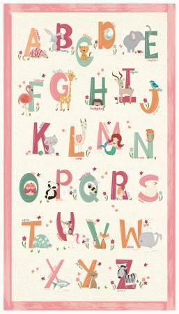Animal Alphabet 25in Panel - Pink