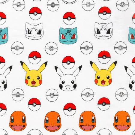Pokemon on White Fabric by the Yard