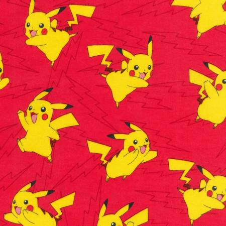 Robert Kaufman Pikachu Toss Flannel in Red