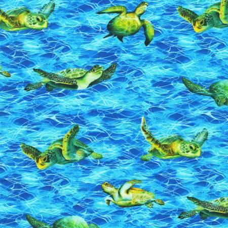 Azure Sea Turtle Digitally Printed