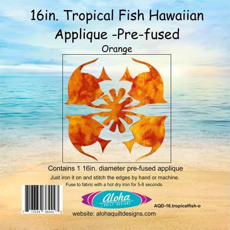 16in Orange Tropical Fish Fusible Hawaiian Applique