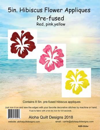 Batik Hibiscus Fusible Applique 5in
