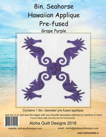 Batik Seahorses Hawaiian Fusible Applique 8in