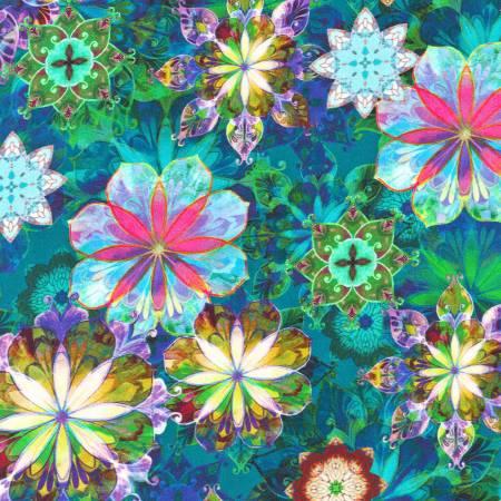 Flowers Teal 108in Wide Sateen