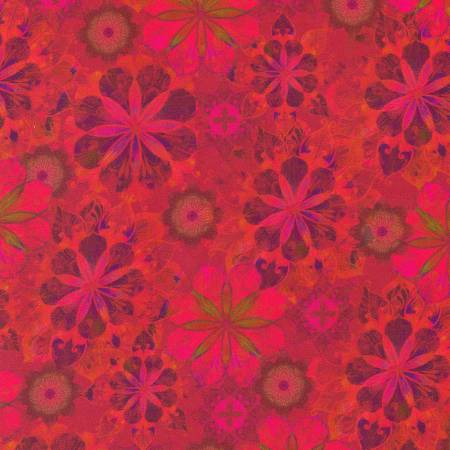 Flowers Red 108in Wide Sateen