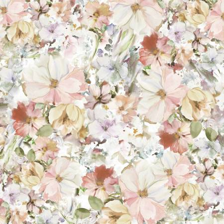 Pink Watercolor Floral 108in Wide Back
