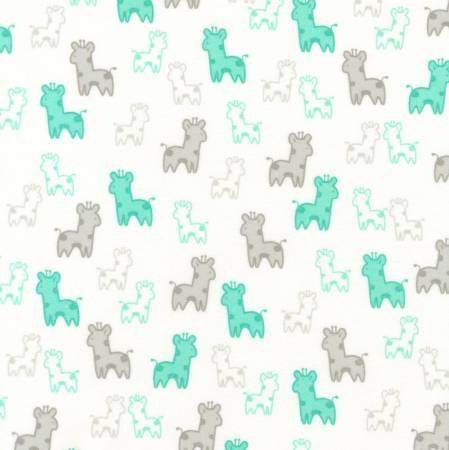 Kaufman Cozy Cotton Flannel Mint Giraffe