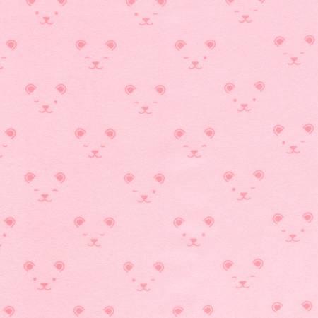 Robert Kaufman Little Savannah Flannel Pink Animal Faces Flannel