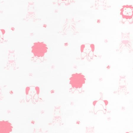 Little Savannah Pink Allover Jungle Animals Flannel