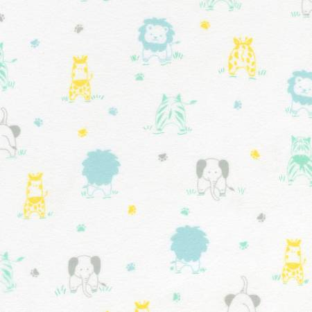 Little Savannah Flannel - Pastel All Over Animals