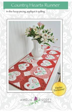 Country Hearts Runner - Amelie Scott Designs by Christine Conner  ASD231