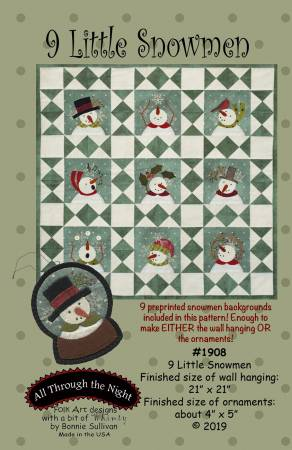 9 Little Snowmen pattern by All Through the Night+