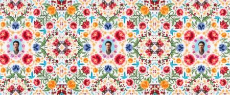 White Frida Kahlo Damask