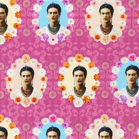 Frida Kahlo - Pink Frida Kahlo Picture in Floral Frame