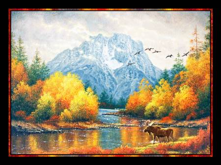 P&B Textiles Autumn Tranquility Moran Reflections Digital Panel 28-7/8in,
