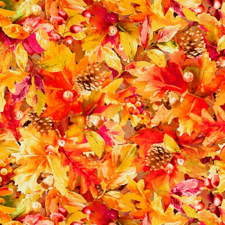 P&B Textiles Autumn Tranquility Multi Leaves Digitally Printed PB092719