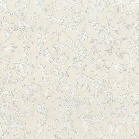 WINTER WHITE FLORAL VINE LINEN METALLIC