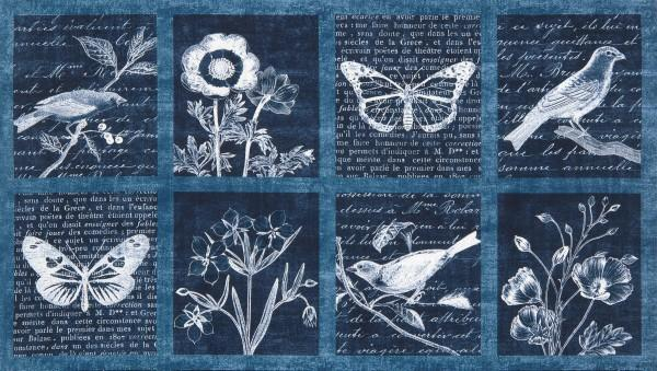Botanical Beauty - Indigo 24 repeating block panel (326)