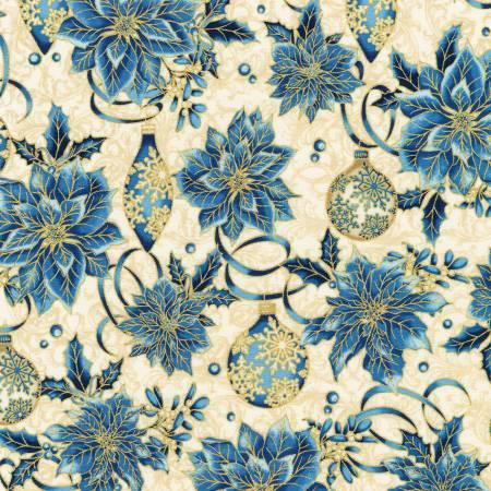 Winter's Grandeur 8 blue poinsettia & bulbs