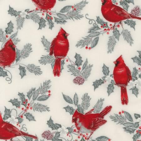 Winters Grandeur 9 - Birds Silver Christmas w/Metallic