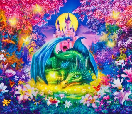 Wild Dragon & Castle Panel 36in