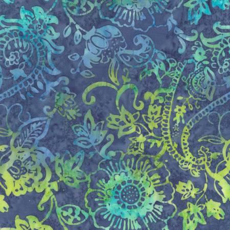 TT- Pacific Batik Lime & Aqua Flowers on Blue