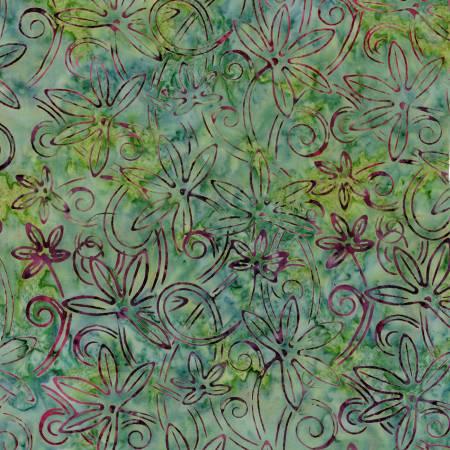 Tonga - Grass - Star Flower - Swirl - Batiks - Timeless Treasures - Checkers - B8572-GRASS - 840035971957