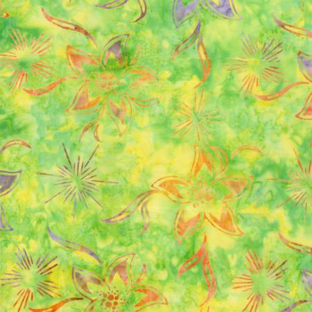 Neon Tropical Flowers & Star Bursts Batik