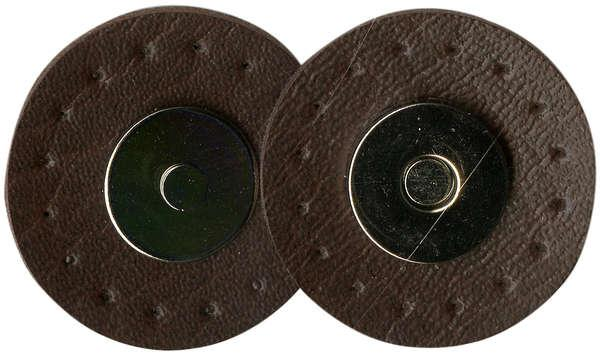 Magnetic Snaps With Leather Like Edge 9/16in Camel & Silver