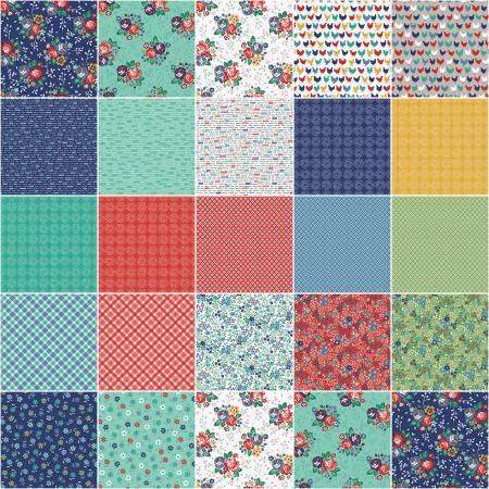 Backyard Blooms Fat Quarter Bundle designed by Allison Glass of Cluck, Cluck, Sew - 22pcs/bundle