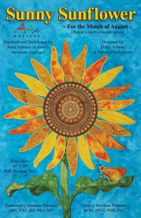 Sunny Sunflower Machine Embroidery USB Stick